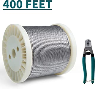 HOSOM 1/8 Inch Wire Rope T316 Stainless Steel Cable Railing Kit for DIY Balustrade Deck Aircraft, 7x7 Strands, 400FT