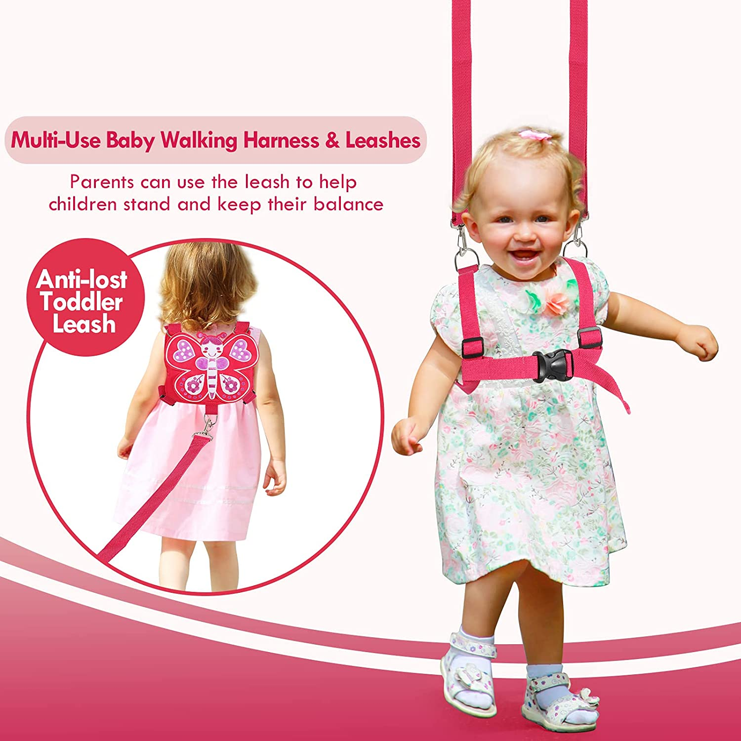 Toddlers Leash for Walking + Anti Lost Wrist Link Safety Wrist 4 in 1 for Toddlers, Child, Babies & Kids, Safety Harness Kids Walking Wristband Assistant Strap Belt for Girls(Butterfly)