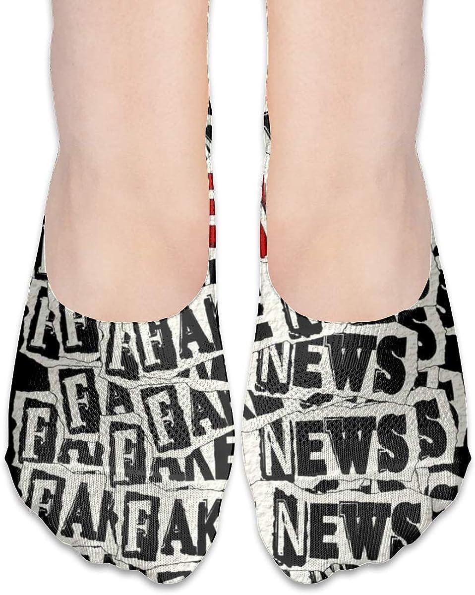 Casual Socks With FAKE NEWS Print, No Show Socks For Women Men