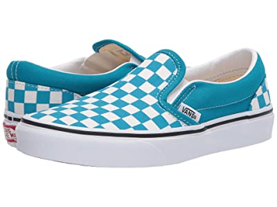 Vans Kids Classic Slip-On (Big Kid) ((Checkerboard) Caribbean Sea/True White) Kids Shoes