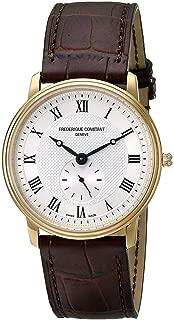 Frederique Constant Fc-235M4s5 Men's Slim Line Brown Genuine Leather Silver-Tone Dial Watch