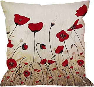 HGOD DESIGNS Beautiful Flower Poppy Pillow Case,Red Flower Cotton Linen Cushion Cover Square Standard Home Decorative for Men/Women 18x18 inch Red Brown