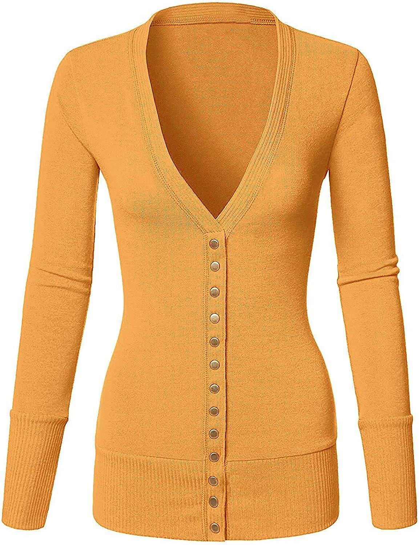 Basic Faith Women's S-3XL V-Neck Button Down Knitwear Long Sleeve Soft Knit Casual Cardigan Sweater Mustard XL