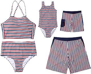Family Matching Striped Sleeveless Swimsuit Mommy&Me Bathing Suit Women 2Pcs Padded Bikini Sets Girl 1Pcs Monokini