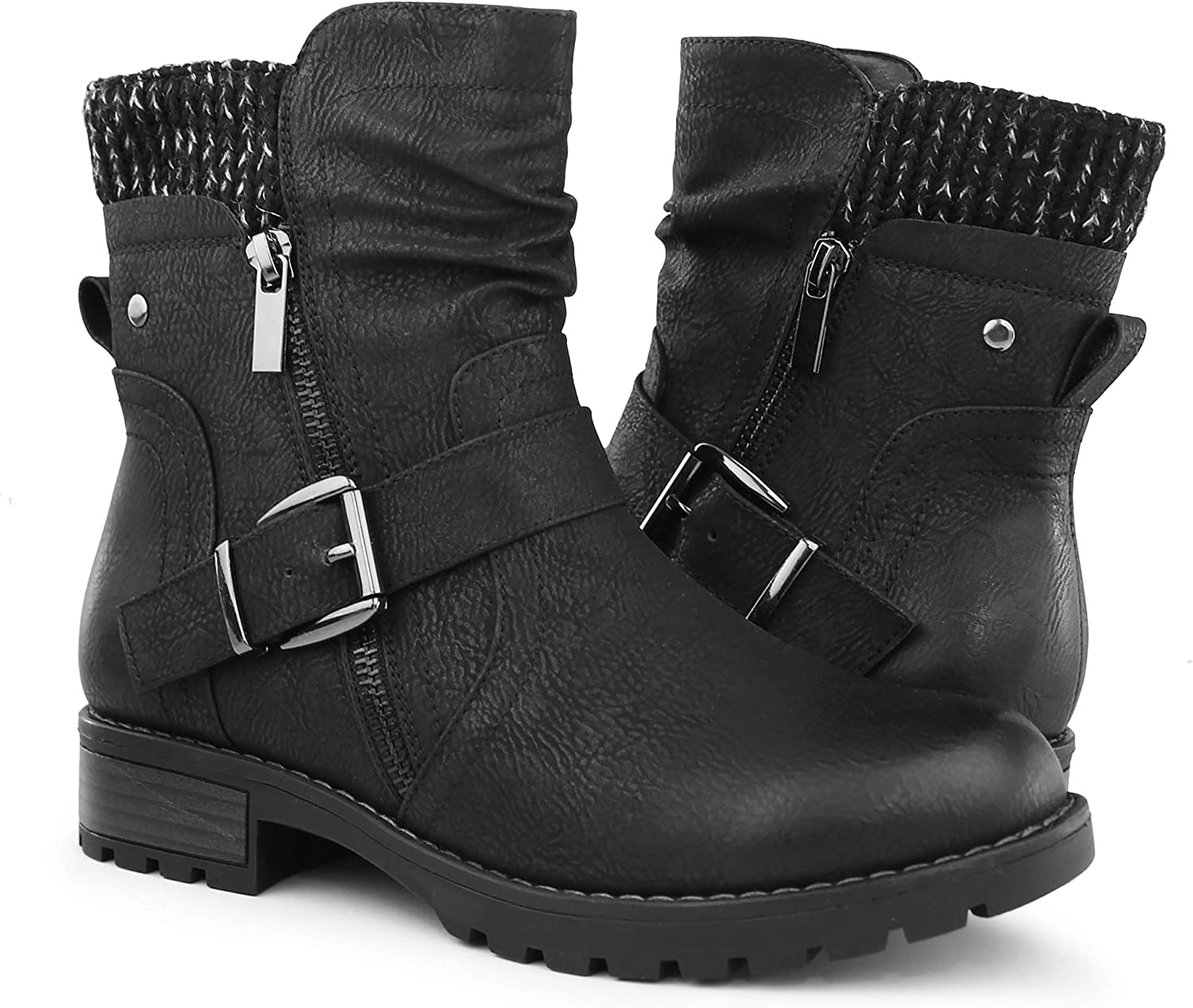Hawkwell Women's Combat Boots Fashion Recommended Buckle Side Ankle B OFFicial store Zipper