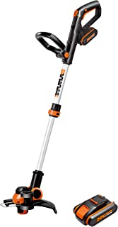 WORX 20V Cordless 2-in-1 Line Grass Trimmer/Edger, w/Command Feed, 2X 2.0Ah Batteries, Fast Charger WG163E