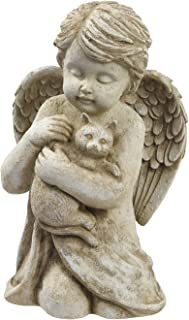 Grasslands Road Beloved Cherub Angel Holding a Cat Pet Memorial Bereavement Garden Statue Figurine