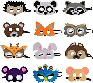 12pc Forest-Friends Animals Felt Masks Woodland Creatures Animal Cosplay Camp Themed Party Favors Supplies for Kids