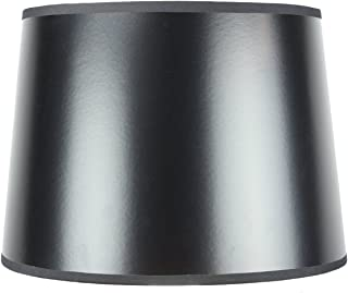 12x14x10 Black Parchment Gold-Lined Drum Lampshade with Brass Spider fitter By Home Concept - Perfect for table and Desk lamps - Medium, Black