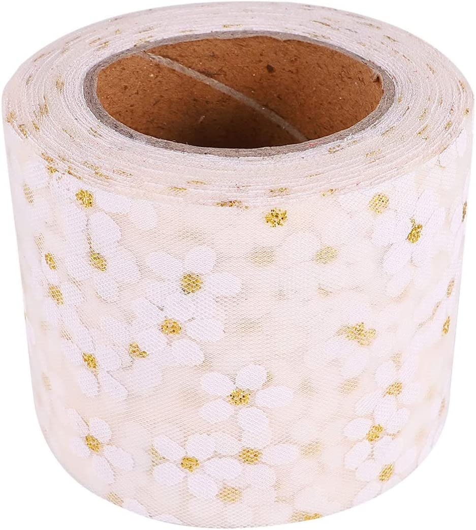 EXCEART Organza Manufacturer regenerated product Ribbon Chicago Mall Flower Sat Printed Chiffon