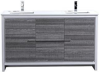 KubeBath Dolce 60″ Double Sink Ash Gray Modern Bathroom Vanity with White Quartz Counter-Top