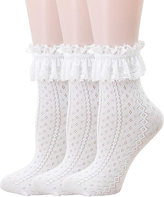 Vintage Style Socks- Knee High, Bobby, Anklet SRYL Women Ankle SocksWomen Lace Ruffle Frilly Ankle Socks Fashion Ladies Girl Princess Dance Sockss1  AT vintagedancer.com
