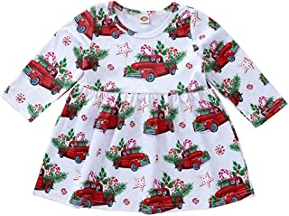 Toddler Baby Girls Cotton Christmas Xmas Deer Bow Cartoon Princess Party Dress Outfits Sets Clothes (0Year-6Years)
