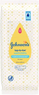 JOHNSON'S Baby Top-To-Toe Washcloths 15 pieces – Pre-moistened washcloths for sensitive skin
