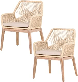 Orient Express Furniture Loom Arm Chair (KD), Sand, Set of 2