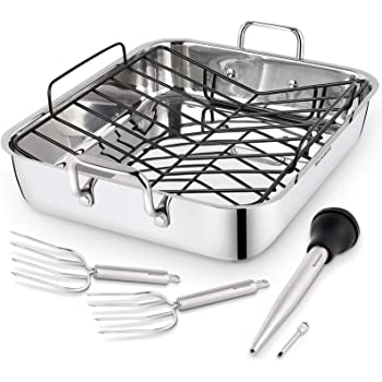 Rorence Roasting Pan with Rack: 16-Inch Stainless Steel Rectangular Turkey Roaster pan with Nonstick V-Shaped Rack for Thanksgiving Christmas – Set of 5