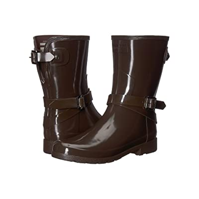 003aa2a77f2ff Hunter Refined Adjustable Short with Ankle Strap Gloss (Bitter Choc) Women's  Rain Boots