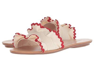 Loeffler Randall Birdie Ruffle Slide Sandal (Natural Canvas/Red) Women