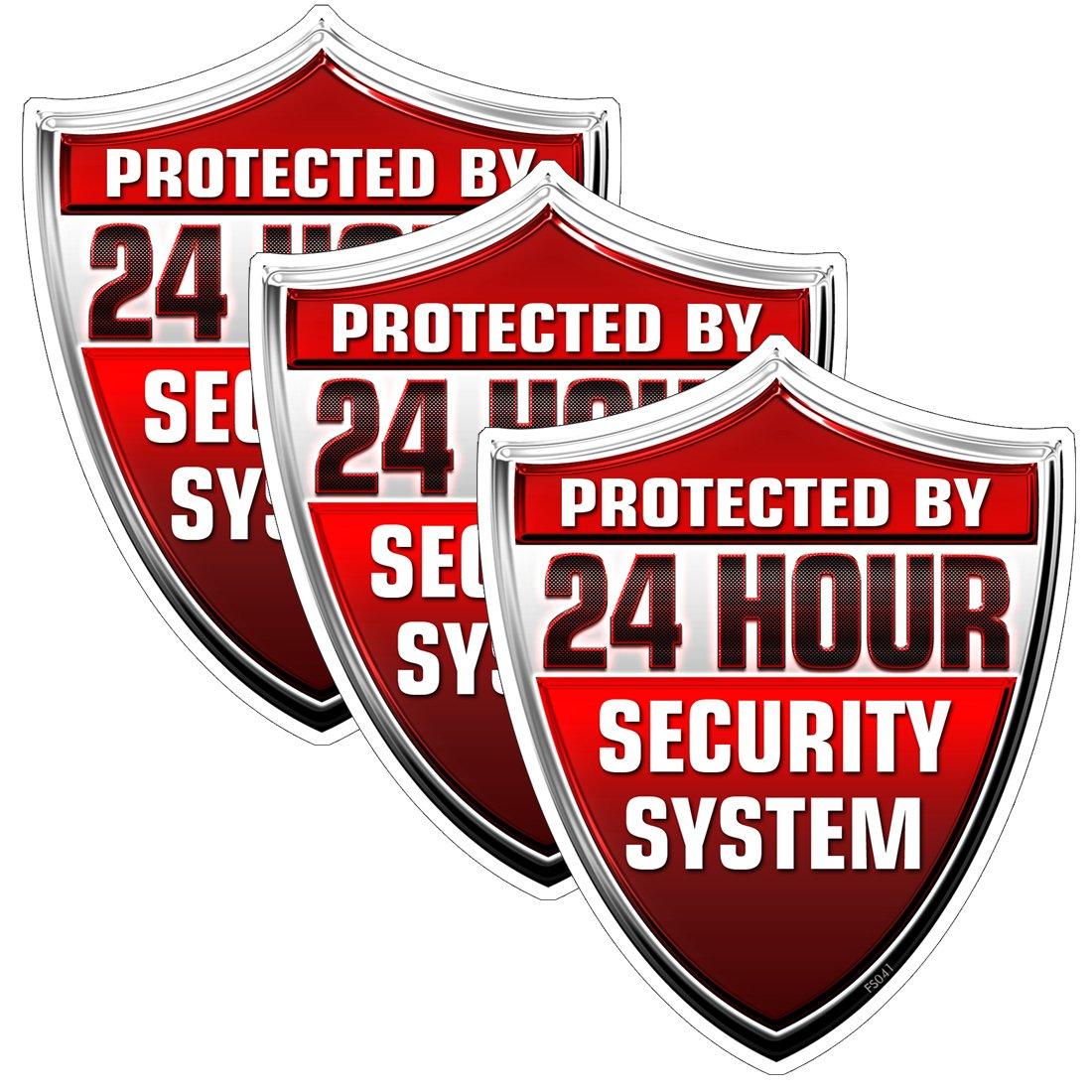 3 Pack protegida por 24 horas seguridad sistema Shield pegatinas ...