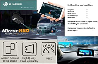 High Tech Optical Head Up Display Smartphone (Mirror HUD) for All Vehicles, Support for Android and iOS Devices (OBD II Charger)