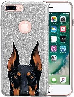 FINCIBO Case Compatible with Apple iPhone 7 Plus / 8 Plus, Sparkling Silver Bling Glitter TPU Protector Cover Case for iPhone 7 Plus / 8 Plus (NOT FIT iPhone 7/8) - Black Rust Doberman Pinscher Dog