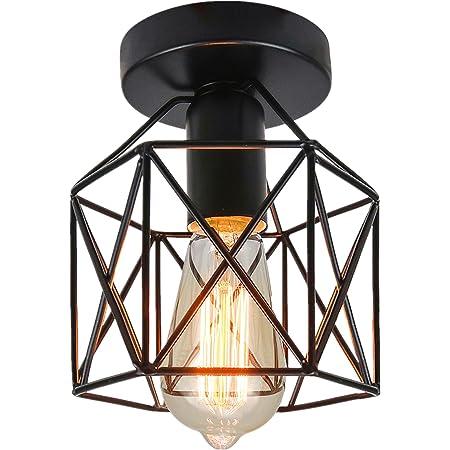 Industriel Plafonnier Industrielle Vintage Plafonnier Suspension Luminaire pour Entrée,Porche,Couloir,Salle à Manger. (Noir1)