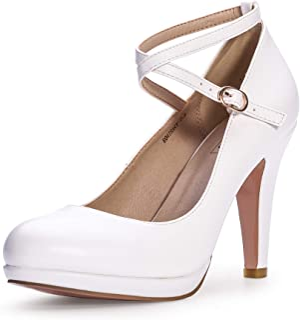 Women's Tracy Crisscross Strap Platform High Heels Pumps Elegant Round Toe Prom Party Shoes