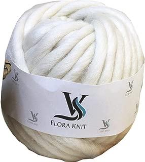 Merino Wool Super Chunky Yarn- Bulky Roving Yarn for Finger Knitting,Crocheting Felting,Making Rugs Blanket and Crafts by FLORAKNIT (Cream, Mini-10mm 0.55LB)