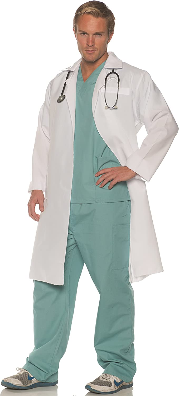 UNDERWRAPS mens Doctor Scrub and Lab Call Coat on Costume Max 84% OFF San Antonio Mall - Set