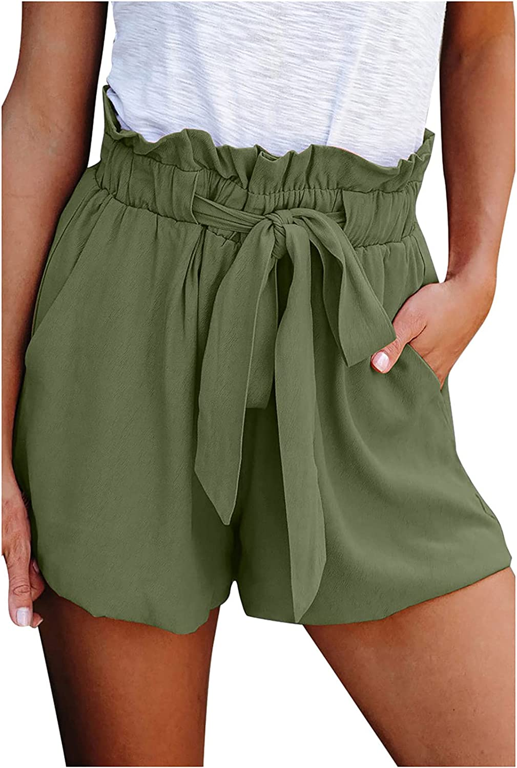 Womens Shorts Comfy Solid Color Max 43% OFF Waist excellence Ruffl Loose Elastic