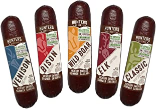 Hunters Reserve, Taste of The Wild Summer Sausages, Hickory Smoked, 5 Wild Game Flavors - Variety Gift Pack