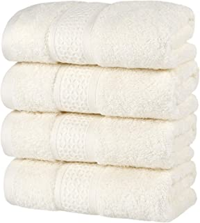 HOULIFE Premium Cotton Hand Towels Set of 4 - Super Soft and Highly Absorbent Hand Towels for Bathroom Daily Use (Ivory, 4...