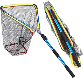 Leo Foldable Collapsible Telescopic Fishing Net Durable Strong Safe Catch and Release Fish Landing Net