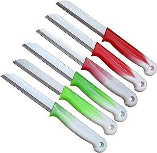 Schwertkrone 6 Küchenmesser Wellenschliff | Messerset Solingen | Gemüsemesser scharf gezahnt/Welle/Schälmesser Obstmesser Allzweckmesser Bandstahl 8,5 cm Klinge