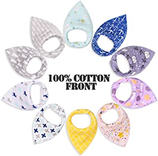 10-pack Unisex Baby Bandana Drool Bibs by Willceal - Organic Cotton Highly Absorbent Drooling and Teething Bibs - Cute Shower Gift