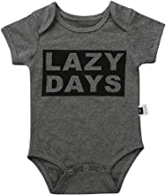 Cute Unisex Onesie Lazy Days Stripe Short Sleeve Comfy Baby Snap Bodysuit Jumpsuit T-Shirt Summer Tees Outfit