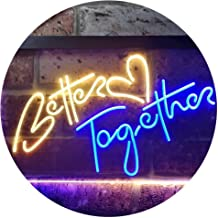 ADV PRO Better Together Bedroom Home Décor Dual Color LED Enseigne Lumineuse Neon Sign Bleu et Jaune 300 x 210mm st6s32-i3235-by