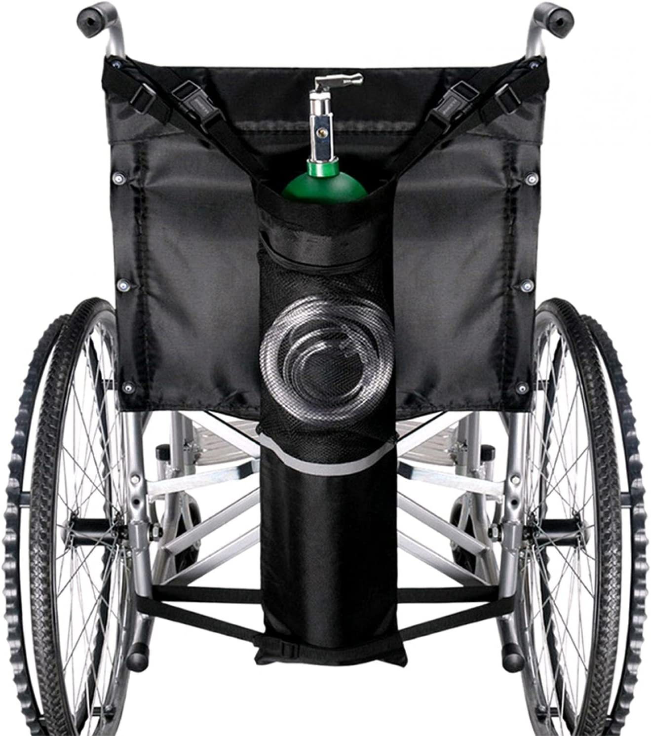 Jiakalamo Bolsa portátil para depósito de oxígeno para sillas de ruedas, bolsa de transporte de cilindro de oxígeno con correas ajustables(tamaño: 75 x 25 cm)