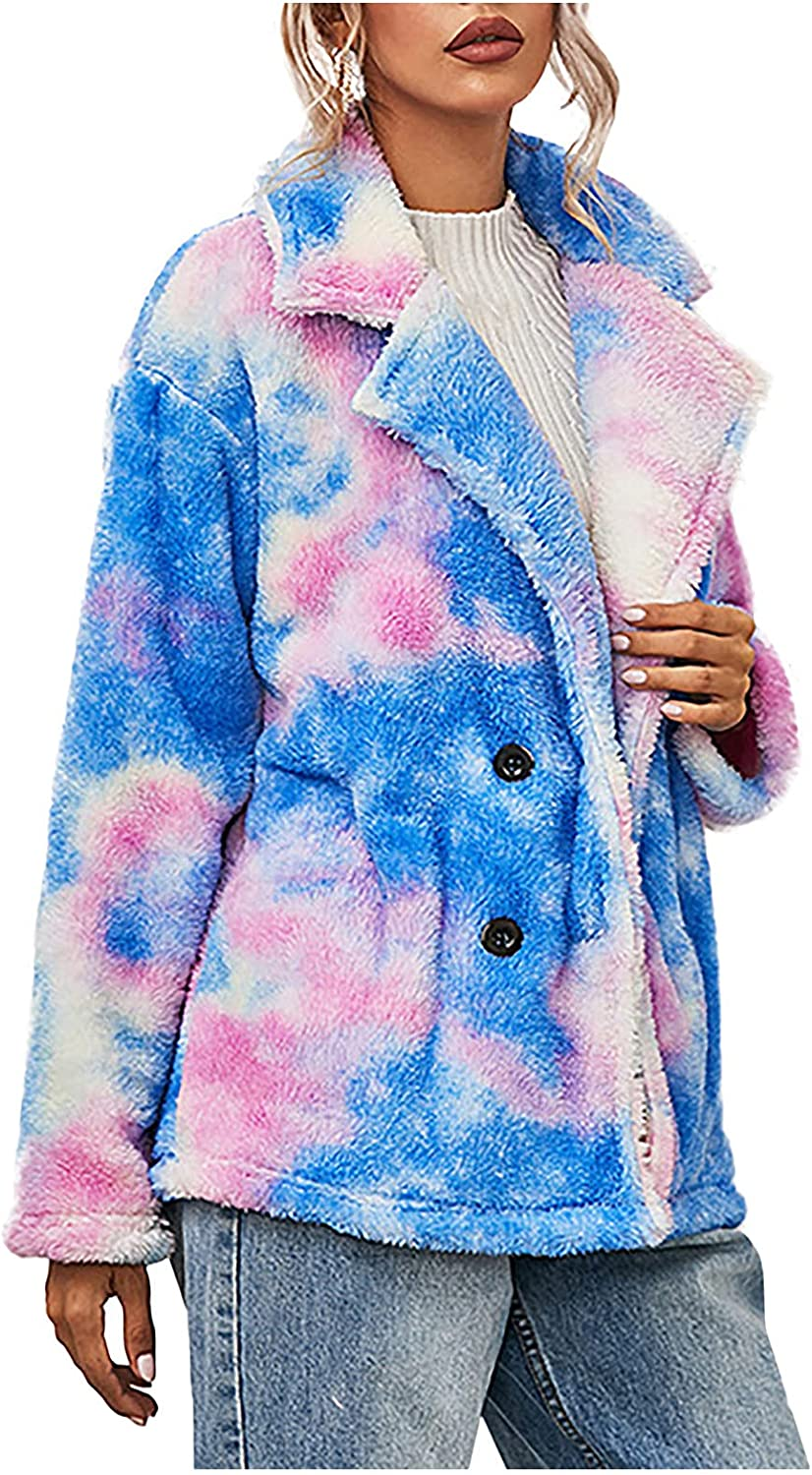 Women Winter Coat Tie-Dye Printed Double-Sided Plush Long-Sleeved Buttons Double-Breasted Lapel Padded Jacket Tops