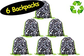 Video Game Favor Bags Drawstring Backpacks for Gamer Party // Made of Recycled Plastic..