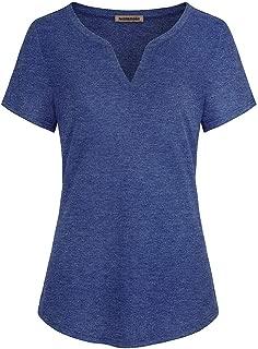 NOBLEMOON asdide Women's Casual Unique Plain Solft Fabric Wave V Neck Short Sleeve Work Tops T Shirts for Leggings m Size Blue