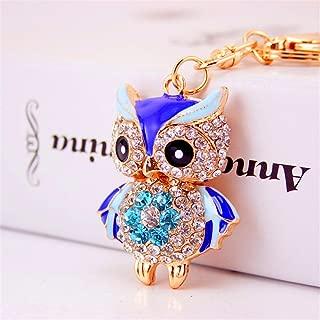 JewelBeauty 3D Cute Owl Crystal Rhinestone Key Rings Pendant Key Chain Purse Drop Ornament For Women & Girls (blue)