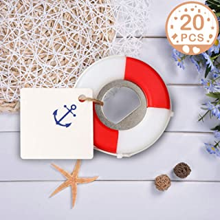 PartyTalk 20pcs Nautical Wedding Favors for Guests Lifesaver Bottle Opener with Anchor Tags Beach Wedding Nautical Party Favors for Baby Shower Birthday Party Decor