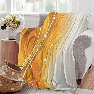 Luoiaax Orange Commercial Grade Printed Blanket Abstract Curves of Color with Bubble Like Dots Simple Floral Artistic Queen King W91 x L60 Inch Orange Dark Green White