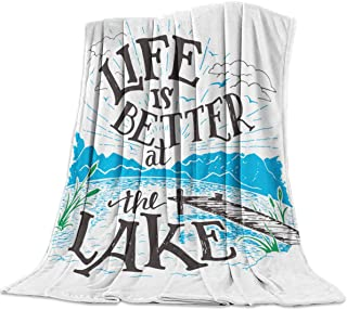 Love - Home Cozy Flannel Blanket for Couch/Bed/Office/Travel 40 x 50 Inches, Life is Better at The Lake Lake Side Scene - ...