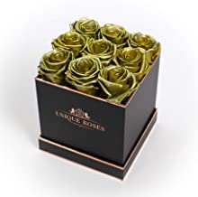 Unique Roses - Real Preserved Roses That Last a Year - Roses in a Box (Gold Roses/Black Box, Square Box / 9 Roses)
