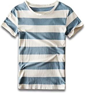 Zecmos Mens Striped T Shirts Crew Neck Wide Stripe Tee Slim Fit Cotton Top Casual