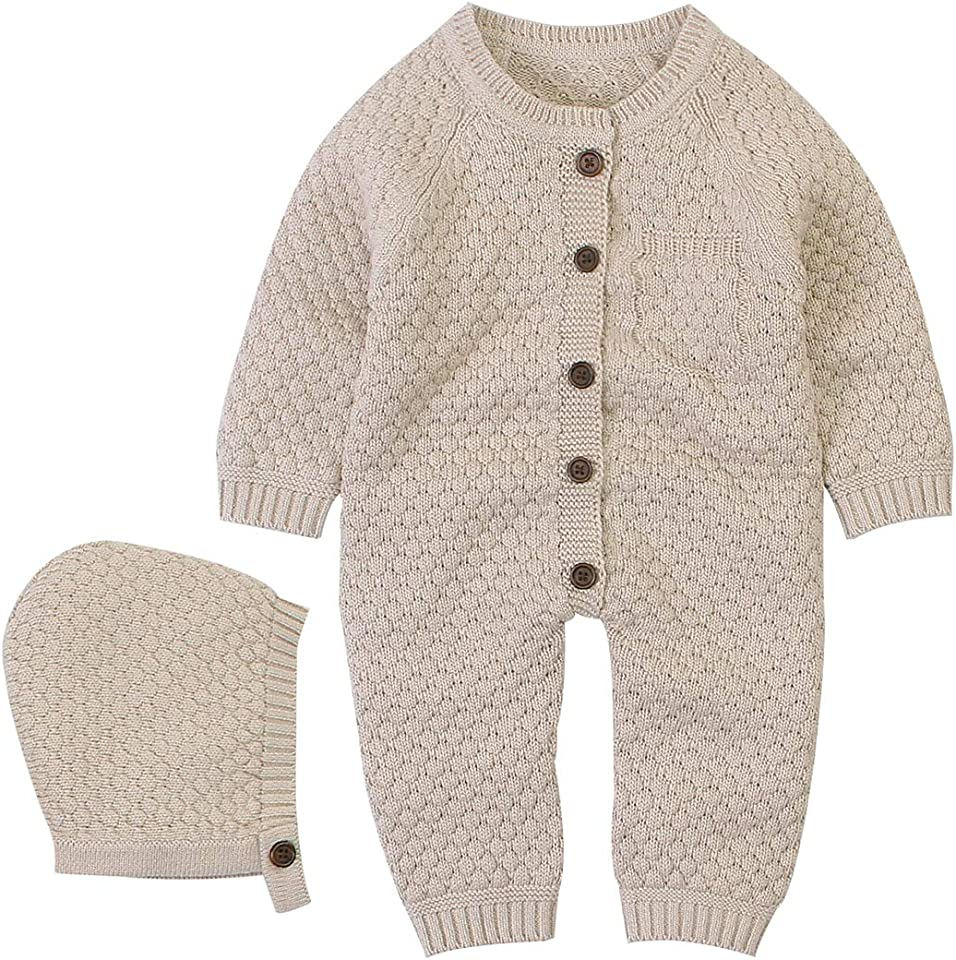 Baby Newborn Knitted Sweater Romper Longsleeve Outfit Cotton Jumpsuit with Warm Hat Set