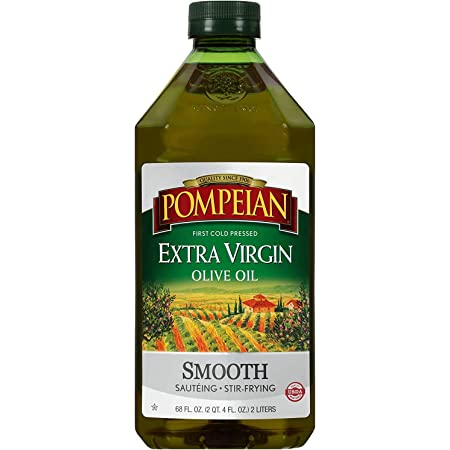Pompeian Smooth Extra Virgin Olive Oil, First Cold Pressed, Mild and Delicate Flavor, Perfect for Sauteing and Stir-Frying, Naturally Gluten Free, Non-Allergenic, Non-GMO, 68 Fl Oz., Single Bottle