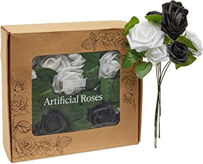 Artificial Black and White Flowers Bulk, 60 Foam Roses with 60 Stems and 16 Leaves (136 Pieces)